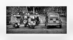 Classic Italian (CJS*64) Tags: cjs64 craigsunter cjs blackwhite bw blackandwhite whiteblack whiteandblack mono monochrome fiat scooters italy florence tuscany vehicles classic class park panasonic lx100 panasoniclx100
