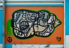 Baa Baa An All Black Sheep (Kiwi) (Steve Taylor (Photography)) Tags: sheep carrot heart peace symbol eye animal art graffiti mural streetart blue black orange white green brown paint aerosol spray newzealand nz southisland canterbury christchurch newbrighton lines shape