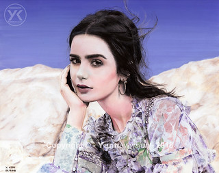 Watercolor painting - Lily Collins (📷 by Rachell Smith) © 🎨 Yannewvision (2018)