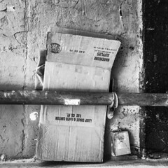 Hold them there... (i2pixel) Tags: bnw found cardboard abstract story telling