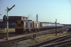 20169 & 20141 Blackpool (Arthur Stopow) Tags: 20169 20141 working special blyth bridge north no 1 signal box july 1989 blackpool tower