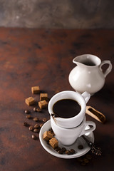 cup on a cup with espresso coffee on a dark background (lyule4ik) Tags: coffee drink espresso cup beverage breakfast white hot mug cafe brown caffeine black aroma isolated liquid porcelain filter top break fresh foam latte mocca organic view decaf morning aromatic bio food shop coffeecup cappuccino bean pleasure coffeebeans coffeefoam object energy plate restaurant grain background italian small table spoon close