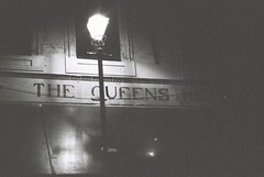 The Queen's Head (goodfella2459) Tags: nikon f4 af nikkor 50mm f14d lens kodak trix 400 35mm blackandwhite film analog night sign queens head pub whitechapel east end spitalfields london elizabeth stride mary kelly jack ripper george hutchinson crime history bwfp