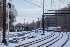 Busy At Woodbourne, PA (Darryl Rule's Photography) Tags: 2018 aem7 alp44 buckscounty c764 csx catenary dark diesel diesels electric express freight freightcar freighttrain freighttrains ge inbound langhorne local march mixedfreight orangejuice outbound pa passenger passengertrain pennsylvania q140 q300 railroad railroads septa silverliner silverlineriv silverliners snow snowy station sun sunny train trains tropicana tropicanajuicetrain westtrentonline winter woodbourne