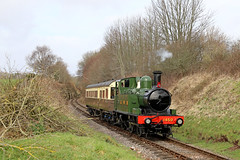 Great Western Branchline (Andrew Edkins) Tags: greatwestern gwr 1450 14xxclass canon uksteam autotrain autocoach westsomersetrailway preservedrailway geotagged march 2018 spring light travel trip england somerset trees passenger crowcombeheathfield