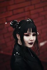 Ebony (peterszeles1) Tags: d7100 nikon contrastingcolors contrast 50mm white ebony black crimson red entity darkness demon illwill sinister portrait