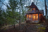 The Cabin in the Woods (Kathy Froilan) Tags: cabin evening sunset woods windowlight welcoming warm hemlock path porch canoneos5dmarkii canonef24105mmf4lisusm tree rocks yard blue green orange brown moss leaves easternkentucky friendlychallenges