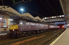 West Coast 47804 at Ipswich, with the Cathedral Express Tour from Salisbury, about to take the ECS to Southall, with 47746 on the rear. 05 04 2018 (pnb511) Tags: trains railway ipswich greateasternmainline geml dark night class47 carriages platform station lights loco locomotive diesel engine nightscene shot