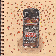 chili (tacoart) Tags: red chili pepper spice spices hot spicy food condiment watercolor penandink uniball brownpaper stilllife traderjoes sketchbook journal