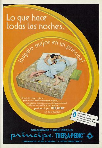 1976 Ad, Principe Ther-A-Pedic Mattresses & Box Springs, Man & Woman (lengua española revista)
