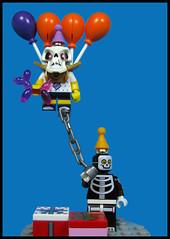 The UPdead Birthday Boy (Karf Oohlu) Tags: lego moc minifig skeleton skull balloon partyboy partyballoon balloonanimal uplifting presents kidkite