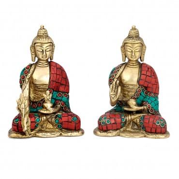 Brass Buddha Pair Statue