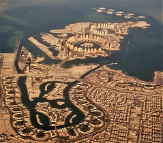 a view of Doha (SM Tham) Tags: middleeast saudipeninsula qatar doha aerialview landscape cityscape buildings sea water canals lagoon pattern houses housing bridges