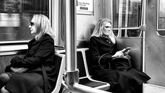 Killers (draketoulouse) Tags: chicago loop cta train street streetphotography people women woman reflection transit monochrome blackandwhite city urban