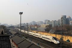 I_B_IMG_8790 (florian_grupp) Tags: asia china locomotive train railway railroad passenger diesel electric beijing station citywall beijingmainstation chaoyang peking cnr chinanationalrailway traffic bluesky