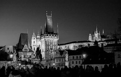 Prague (romanboed) Tags: karluv most charles bridge night monochrome black white bw leica m 240 summilux 50 europe czech republic czechia bohemia prague cesko ceska republika praha hlavni city cityscape travel tourism architecture praag prag praga 布拉格 прага プラハ براغ 프라하 castle mala strana lesser quarter