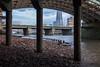 Under Southwark Bridge (Spannarama) Tags: bridge southwarkbridge supports evening twilight dusk foreshore thames river london uk lowtide pillars shard cannonstreetrailbridge timbers framed