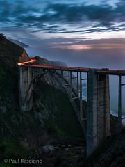 Bixby Bridge at Dusk, Fog Rolling Out, Big Sur (Paul Rescigno) Tags: bigsur bixbybridge bridge seascape highway1 pch california ocean bixby dusk fog twilight taillights pacificcoasthighway roadtrip
