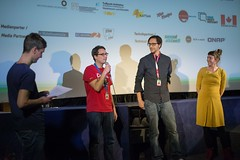 Die Kurzfilmwochemacher Philipp Weber, Michael Fleig und Insa Wiese.