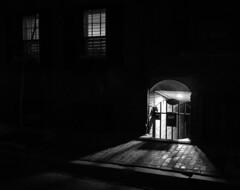 Passageway Below (iMatthew) Tags: blackandwhite boston bayvillage bw olympuspen penf brick townhouse passageway architecture night contrast handheld illumination olympuspenf