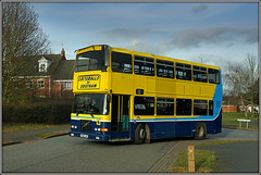 R308 LHK, Sedgemoor Way (Jason 87030) Tags: volvo olympian yellow blue doubledecker r308lhk catteralls southam daventry northants northamptonshire sedgemoorway langfarm bus college image ilce wheels march 2018
