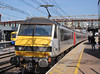 Grr Too Many Shadows  ! (AndrewHA's) Tags: railway train stratford east london station abellio greater anglia class 90 electric loco locomotive 90005 vice admiral lord nelson 1p32 liverpool street norwich brel crewe works