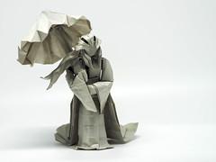 In The Rain (Ivan Danny) Tags: origami papercraft art grey olympus umbrella sculpture paperkraft handicraft female lady