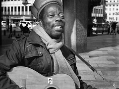 street. musician (judydeanclasen) Tags: mono cologne guitar hat streetmusician streetshot