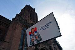 Big screen outside cathedral for public to watch service (James O'Hanlon) Tags: sir ken dodd sirkendodd kendodd funeral cathedral anglican liverpool liverpoolcathedral anglicancathedral stars knotty ash knottyash squire legend comedy