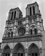 Notre Dame (Rebecca Leyva) Tags: city notre dame paris france bw black white cathedral iconic icon landmark travel urban landscape gothic medieval church sculptures