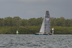 LOX_3703 (Lox Pix) Tags: australia queensland brisbanetogladstone yachtrace catamaran trimaran 2018 bossracing multihull loxpix moretonbay shorncliffe cabbagetreecreek rudder aground sailing