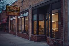 M & M COIN LAUNDROMAT - LAVANDERIA (Jovan Jimenez) Tags: sony a6500 nikon 28mm seriese kodak vision3 200t 5213 m coin laundromat lavanderia mm mandm eseries series e alpha 6500 ilce ravenswood chicago street sign