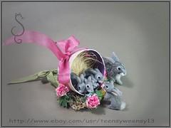 Bunny Momma and baby kits (Teensyweensybaby) Tags: miniature animal dollhouseminiature miniatureanimal oneinchscale rabbit bunny kit bunnies rabbits