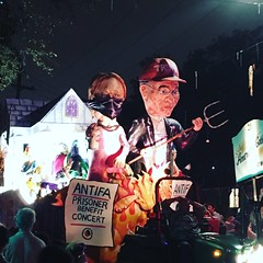 ANTIFA Float, Mardi Gras, New Orleans, 2018 (kimberlee.marshall) Tags: afterdark night iphone april dissent charlottesville whitesupremacy pitchfork antitrump jailed parade benefitconcert prisoner protesters fundraiser line float protest antifa nola mardigras 2018 neworleans louisiana