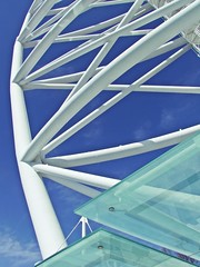 steel and glass (theodehaan) Tags: portugal lisbon worldexpo tower vasco gama blue sky glass architecture