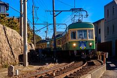 Enoshima Electric Railway Type 300 Train (Dakiny) Tags: 2018 winter january japan kanagawa kamakuira shichirigaham shonan coast city street railway enoshimaelectricrailway enoden train electrictrain