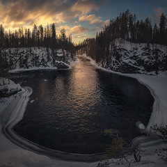 Magical view (el_farero) Tags: lapland sunset river landscape farero panoramic clouds oulanka black serenity cold pine