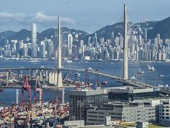 HK skyline on a clear day (cyangLtravel) Tags: hongkong landscape skyline weather sky blue cloud white terminals buildings bridge vehicles