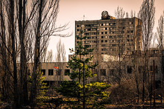 Hammer and Sickle in Pripyat, Chernobyl Exclusion Zone, Ukraine (KSAG Photography) Tags: pripyat ukraine chernobyl disaster hammerandsickle communism communist soviet city urban urbandecay history nikon april 2018 tower building tourism travel