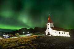 Aurora over Vik (ms2thdr) Tags: iceland southerniceland winter vik church auroraborealis aurora lights sky green