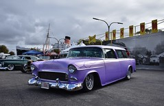 Blood Drive Car Show 2018 (USautos98) Tags: 1955 chevrolet chevy nomad wagon traditionalhotrod streetrod kustom flames