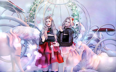 Pretty twins ♥ (Yoon-gi) Tags: sl model art photography angelical photo photoshop edit mesh bento catwa daniel pose shirtless avatar avi secondlife second life virtual digital animal retrato balloon shine girls twins friends love happy color colorful unicorn pink kawaii mangou