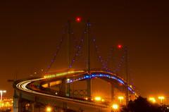 The Bridge to Nowhere (RichGreenePhotography.com) Tags: portoflosangeles vincentthomasbridge sanpedro california losangelesharbor longexposure suspensionbridge dawn lights lighttrails traffic nightshot
