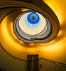 The door on the first floor (Maerten Prins) Tags: berlijn duitsland deutschland germany berlin berggruen museum stair stairs stairwell staircase spiral curve curves upshot round circle dark brown gold yellow black blue shadow railing architecture art door