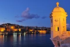 Senglea Point Sunset (Douguerreotype) Tags: blue dark light malta water buildings sunset cityscape architecture city valletta night tower fort