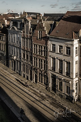Early morning (gusmartinie) Tags: track bicycle nikon eu east street gent city belgique cobbled cyclist 2017 architecture tram lines belgie sunrise brick mood flanders cold window urban ancient beautiful biker belgium house building ghent cityscape shadows europe outdoors gand