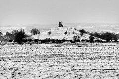 Cold Burrow Mump. (MDCPhotographic) Tags: burrowmump church ruins bw somerset england westcountry snow cold mono monotone canon 7d fun sleding sledge slide mump