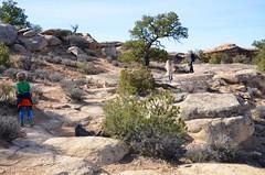 Sue & The Kids On The Slickrock Trail (Joe Shlabotnik) Tags: proudparents nationalpark utah violet sue 2017 hiking canyonlands everett november2017 canyonlandsnationalpark afsdxvrzoomnikkor18105mmf3556ged
