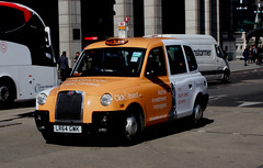 Orange & White Taxi (AndrewHA's) Tags: bishopsgate london city black taxi cab lti tx4 lr64gwk all over advert fund management