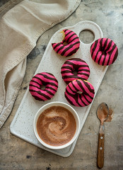 Donuts and hot chocolate (dessiredd) Tags: drink cocoa milk foodphotography foodstyling food donuts